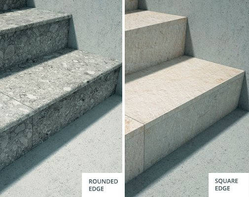 tiles for outdoor steps with rounded and squared edge