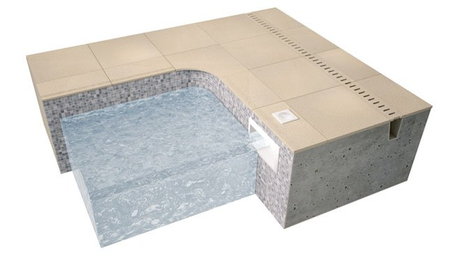 swimming pool skimmer edge tiles